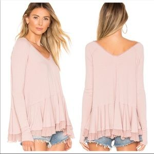 Free People Layered Raw Hem V-Neck Long Sleeve